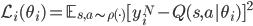 \mathcal{L_i}(\theta_i) = \mathbb{E} _{s,a \sim \rho(\cdot)} [y_i^N - Q(s,a | \theta_i)]^2