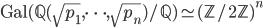 \mathrm{Gal}(\mathbb{Q}(\sqrt{p_1}, \dots, \sqrt{p_n})/\mathbb{Q}) \simeq (\mathbb{Z}/2\mathbb{Z})^n
