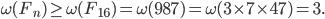 \omega(F_{n}) \geq \omega(F_{16}) = \omega(987) = \omega(3 \times 7\times  47) = 3.