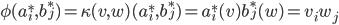 \phi(a_{i}^{*},b_{j}^{*})=\kappa(v,w)(a_{i}^{*},b_{j}^{*})=a_{i}^{*}(v)b_{j}^{*}(w)=v_{i}w_{j}