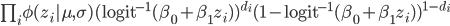 \prod_i \phi (z_i|\mu,\sigma) (\rm{logit}^{-1}(\beta_0+\beta_1 z_{i}))^{d_i} (1-\rm{logit}^{-1}(\beta_0+\beta_1 z_{i}))^{1-d_i}