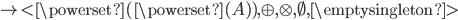 \rig<\powerset(\powerset(A)),\oplus,\otimes,\emptyset,\emptysingleton>