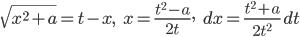 \sqrt{x^2+a}=t-x, \hspace{5pt} x= \frac{t^2-a}{2t}, \hspace{5pt} dx = \frac{t^2+a}{2t^2}\,dt
