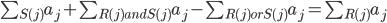 \sum_{S(j)}a_j+\sum_{R(j)andS(j)}a_j-\sum_{R(j)orS(j)}a_j=\sum_{R(j)}a_j