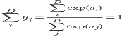 \sum_i^D y_i = \frac{\sum_i^D \exp(a_i)}{\sum_j^D \exp(a_j)}=1