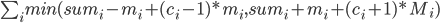 \sum_i{min(sum_i - m_i + (c_i - 1) * m_i, sum_i + m_i + (c_i + 1) * M_i)}
