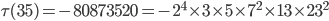 \tau (35)= -80873520=-2^4\times 3\times 5\times 7^2\times 13\times 23^2