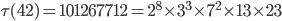 \tau (42)= 101267712=2^8\times 3^3\times 7^2\times 13\times 23