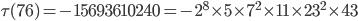 \tau (76)= -15693610240=-2^8\times 5\times 7^2\times 11\times 23^2\times 43