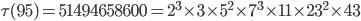 \tau (95)= 51494658600=2^3\times 3\times 5^2\times 7^3\times 11\times 23^2\times 43