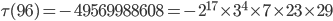 \tau (96)= -49569988608=-2^{17}\times 3^4\times 7\times 23 \times 29
