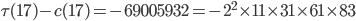 \tau(17)-c(17)=-69005932 =-2^2\times 11\times 31\times 61\times 83