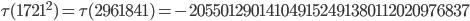 \tau(1721^2)=\tau(2961841)= -205501290141049152491380112020976837