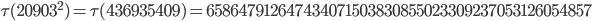 \tau(20903^2)=\tau(436935409)= 658647912647434071503830855023309237053126054857