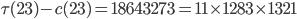 \tau(23)-c(23)= 18643273=11\times 1283\times 1321