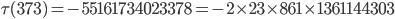 \tau(373)= -55161734023378=-2\times 23 \times 861\times 1361144303