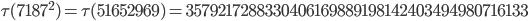 \tau(7187^2)=\tau(51652969)= 3579217288330406169889198142403494980716133