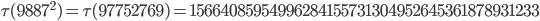 \tau(9887^2)=\tau(97752769)= 15664085954996284155731304952645361878931233