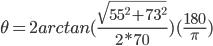 \th=2 arctan{(\frac{\sqrt{55^2+73^2}}{2*70})(\frac{180}\pi)