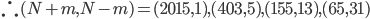 \therefore (N+m,N-m)=(2015,1),(403,5),(155,13),(65,31)