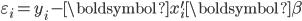 \varepsilon_{i}=y_{i}-\boldsymbol{x}_{i}^{\prime}\boldsymbol{\beta}