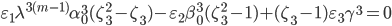 \varepsilon_1 \lambda^{3(m-1)}\alpha_0^3 (\zeta_3^2-\zeta_3)-\varepsilon_2\beta_0^3(\zeta_3^2-1)+(\zeta_3-1)\varepsilon_3 \gamma^3=0