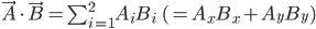 \vec{A}\cdot\vec{B}=\sum_{i=1}^2A_iB_i\quad\quad(=A_xB_x+A_yB_y)