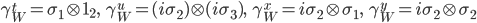 {  \gamma^t_W=\sigma_1\otimes{\bf 1}_2,\ \ \ \gamma^u_W=(i\sigma_2)\otimes(i\sigma_3),\ \ \   \gamma^x_W=i\sigma_2\otimes\sigma_1,\ \ \ \gamma^y_W=i\sigma_2\otimes\sigma_2 }