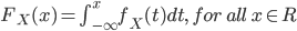 {  F_X(x) = \int_{-\infty}^x f_X (t) dt , \ for \ all \ x \in R }