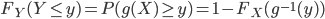 {  F_Y ( Y \leq y ) = P ( g(X) \geq y ) = 1 - F_X (g^{-1} (y) ) }