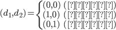 { (d_1, d_2) = \begin{cases}     (0, 0) & (教授) \\     (1, 0) & (助教) \\     (0, 1) & (講師)   \end{cases} }