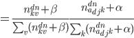 { = \frac{n_{kv}^{dn} + \beta}{\sum_v (n_{kv}^{dn} + \beta)} \frac{n_{a_{dj}k}^{dn} + \alpha}{\sum_k (n_{a_{dj}k}^{dn} + \alpha)} }