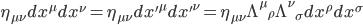 { \begin{eqnarray} \eta_{\mu\nu}dx^\mu dx^\nu  = \eta_{\mu\nu}dx'^\mu dx'^\nu  = \eta_{\mu\nu}\Lambda^\mu{}_\rho \Lambda^\nu{}_\sigma dx^\rho dx^\sigma \end{eqnarray} }