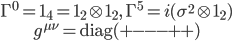 { \begin{gather} \Gamma^0={\bf 1}_4={\bf 1}_2\otimes{\bf 1}_2,\  \Gamma^5=i(\sigma^2\otimes{\bf 1}_2)\\ g^{\mu\nu}={\rm diag}(+---++) \end{gather} }