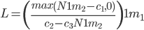 { \displaystyle  \begin{equation} L=\left( \frac{ max \left( N^\frac{1}{m_2} - c_1, 0 \right) }{c_2 - c_3 N^\frac{1}{m_2} } \right)^\frac{1}{m_1} \end{equation}  }