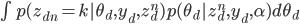 { \int p(z_{dn} = k | \theta_d, y_d, z^{n}_d) p(\theta_d | z^n_d, y_d, \alpha) d \theta_d }
