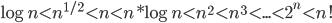 { \log{n} < n^{1/2} < n < n*\log{n} < n^{2} < n^{3} <...< 2^{n} < n!  }