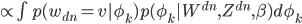 { \propto \int p(w_{dn}=v | \phi_k) p(\phi_k | W^{dn}, Z^{dn}, \beta) d\phi_k }