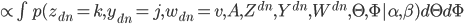 { \propto \int p(z_{dn}=k,y_{dn}=j, w_{dn}=v, A, Z^{dn}, Y^{dn}, W^{dn}, \Theta, \Phi | \alpha, \beta) d\Theta d\Phi }