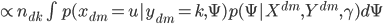 { \propto n_{dk} \int p(x_{dm}=u|y_{dm}=k, \Psi)p(\Psi |X^{dm}, Y^{dm}, \gamma) d\Psi }