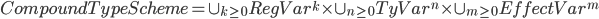 { CompoundTypeScheme = \cup_{k \geq 0} RegVar^{k} \times \cup_{n \geq 0} TyVar^{n} \times \cup_{m \geq 0} EffectVar^{m} }