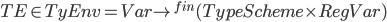 { TE \in TyEnv = Var \rightarrow^{fin} (TypeScheme \times RegVar) }