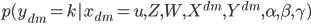 { p(y_{dm} = k | x_{dm} = u, Z, W, X^{dm}, Y^{dm}, \alpha, \beta, \gamma) }