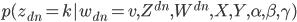 { p(z_{dn} = k | w_{dn} = v, Z^{dn}, W^{dn}, X, Y, \alpha, \beta, \gamma) }