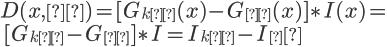 { \Large{   D(x,σ) = [ G_{kσ}(x) - G_{σ}(x) ] \ast I(x) = \\\   [ G_{kσ} - G_{σ} ] \ast I = I_{kσ} - I_σ } }