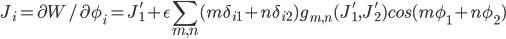 { \displaystyle  J_i= \partial W/\partial \phi_i= J'_1 +\epsilon \sum_{m,n}  (m\delta_{i 1}+n\delta_{i 2}) g_{m,n}(J'_1,J'_2)cos(m \phi_1 + n \phi_2) }