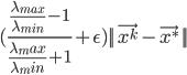 { \displaystyle (\frac{\frac{\lambda_{max}}{\lambda_{min}} - 1}{\frac{\lambda_max}{\lambda_min} + 1} + \epsilon)||\vec{x^k} - \vec{x^*}||  }
