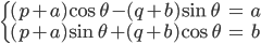 { \displaystyle \begin{align*} \begin{cases} (p + a)\cos\theta - (q + b)\sin\theta &= a \\ (p + a)\sin\theta + (q + b)\cos\theta &= b \end{cases} \end{align*} }