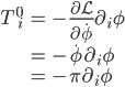 { \displaystyle \begin{eqnarray}  T^0_{\,\,i}&=&-\frac{\partial \mathcal{L}}{\partial\dot{\phi}}\partial_i\phi\\ &=&-\dot{\phi}\partial_i\phi\\ &=&-\pi\partial_i\phi \end{eqnarray} }