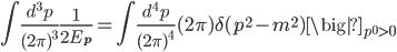 { \displaystyle \begin{eqnarray} \int\frac{d^3p}{(2\pi)^3}\frac{1}{2E_{\bf{p}}}=\int\frac{d^4p}{(2\pi)^4}(2\pi)\delta(p^2-m^2)\big|_{p^0>0} \end{eqnarray} }